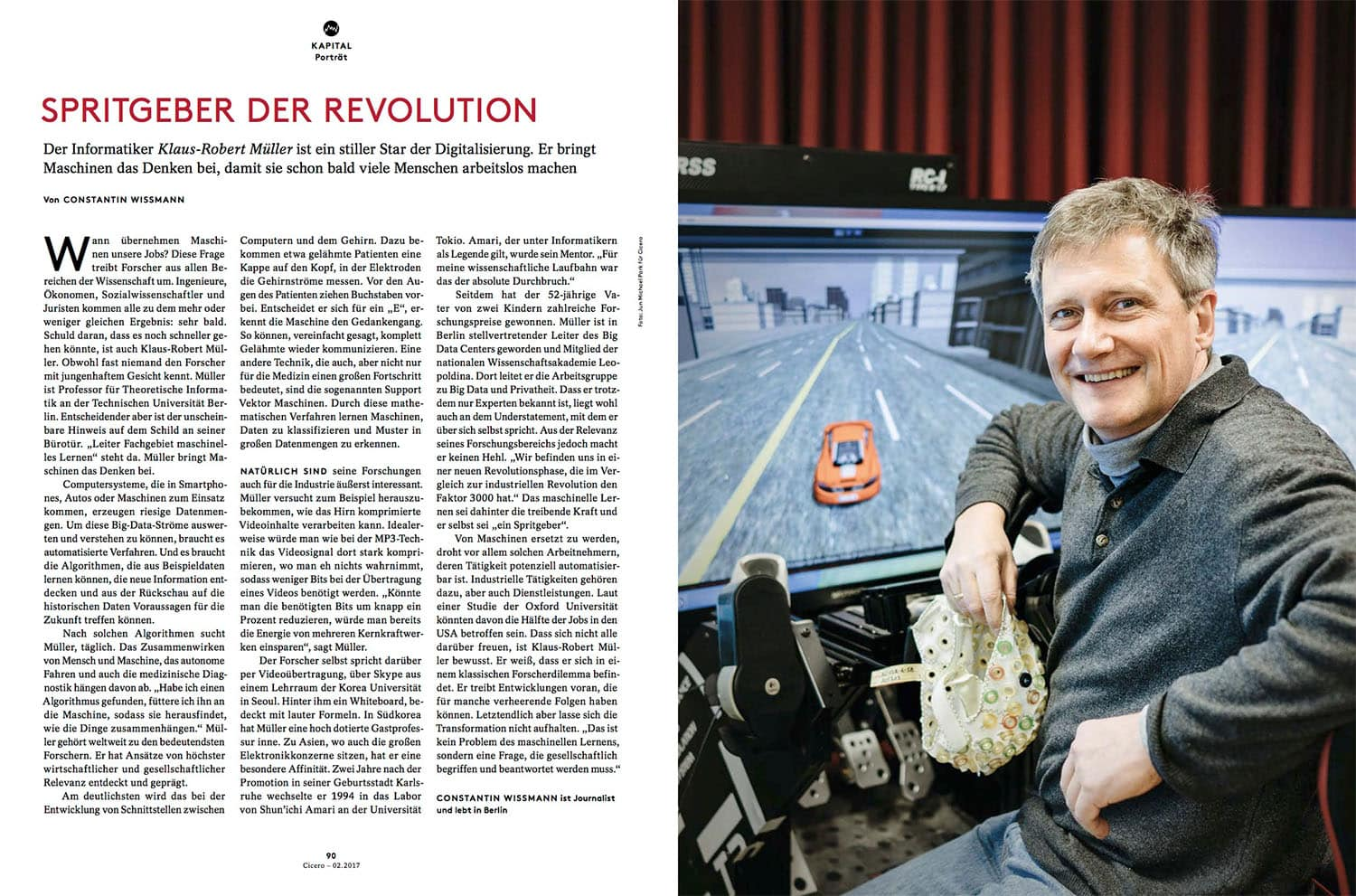 Portrait of Dr. Klaus-Robert Muller, researcher and expert on artificial intelligence and machine running. Feb. 2017, Cicero.