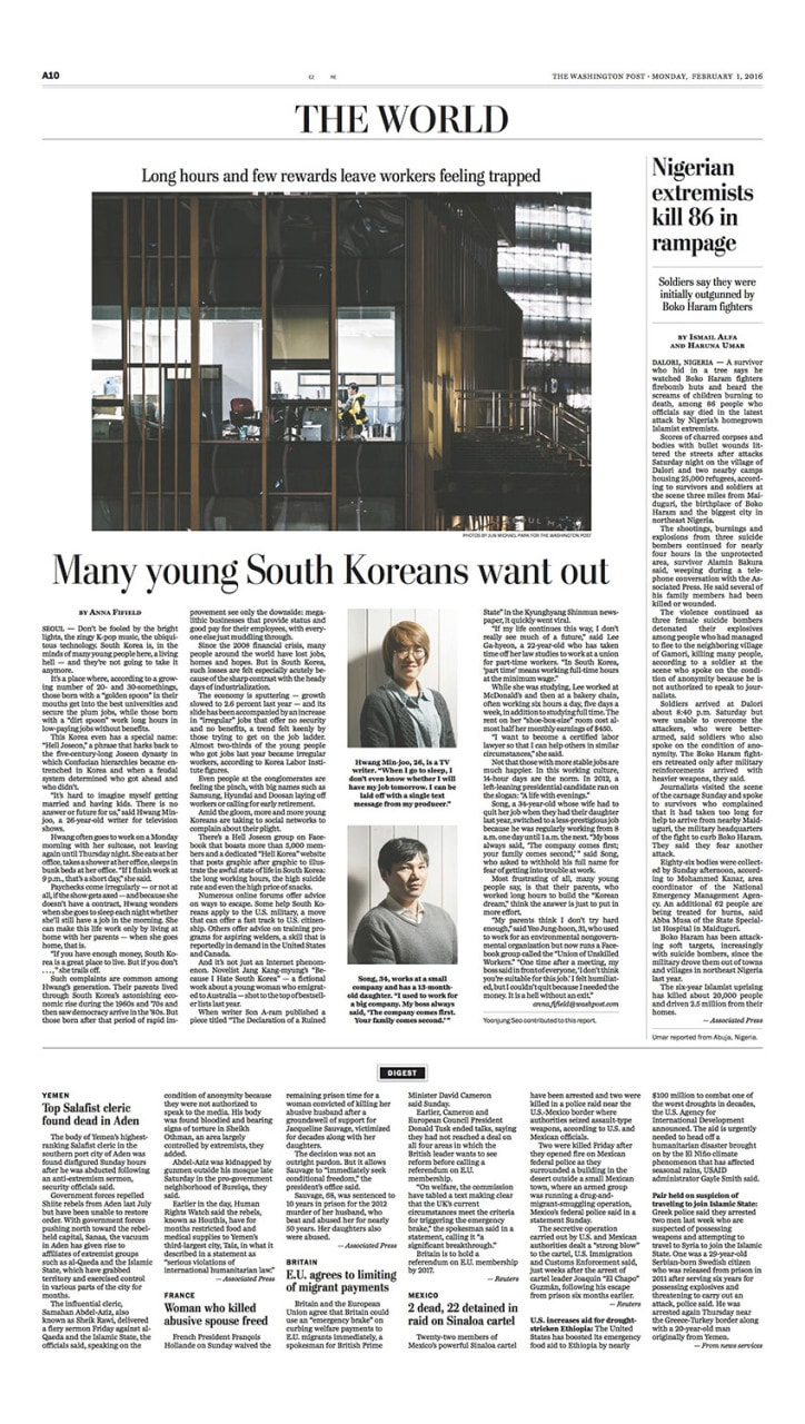 Hell Joseon: Many young South Koreans want out, 1 Feb 2016, Washington Post