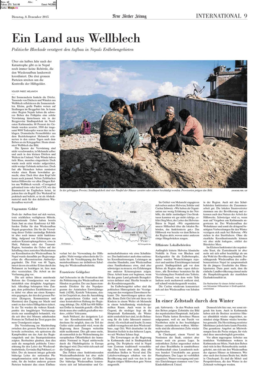 Reconstruction in Nepal, 8 Dec 2015, Neue Zürcher Zeitung