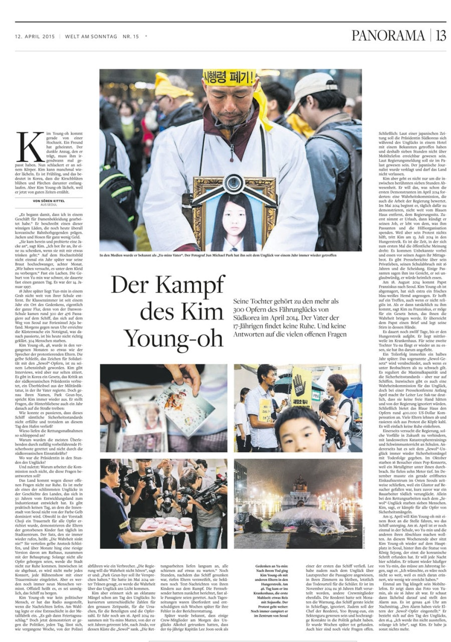 The battle of Kim Young-oh, 12 April 2015, Welt am Sonntag