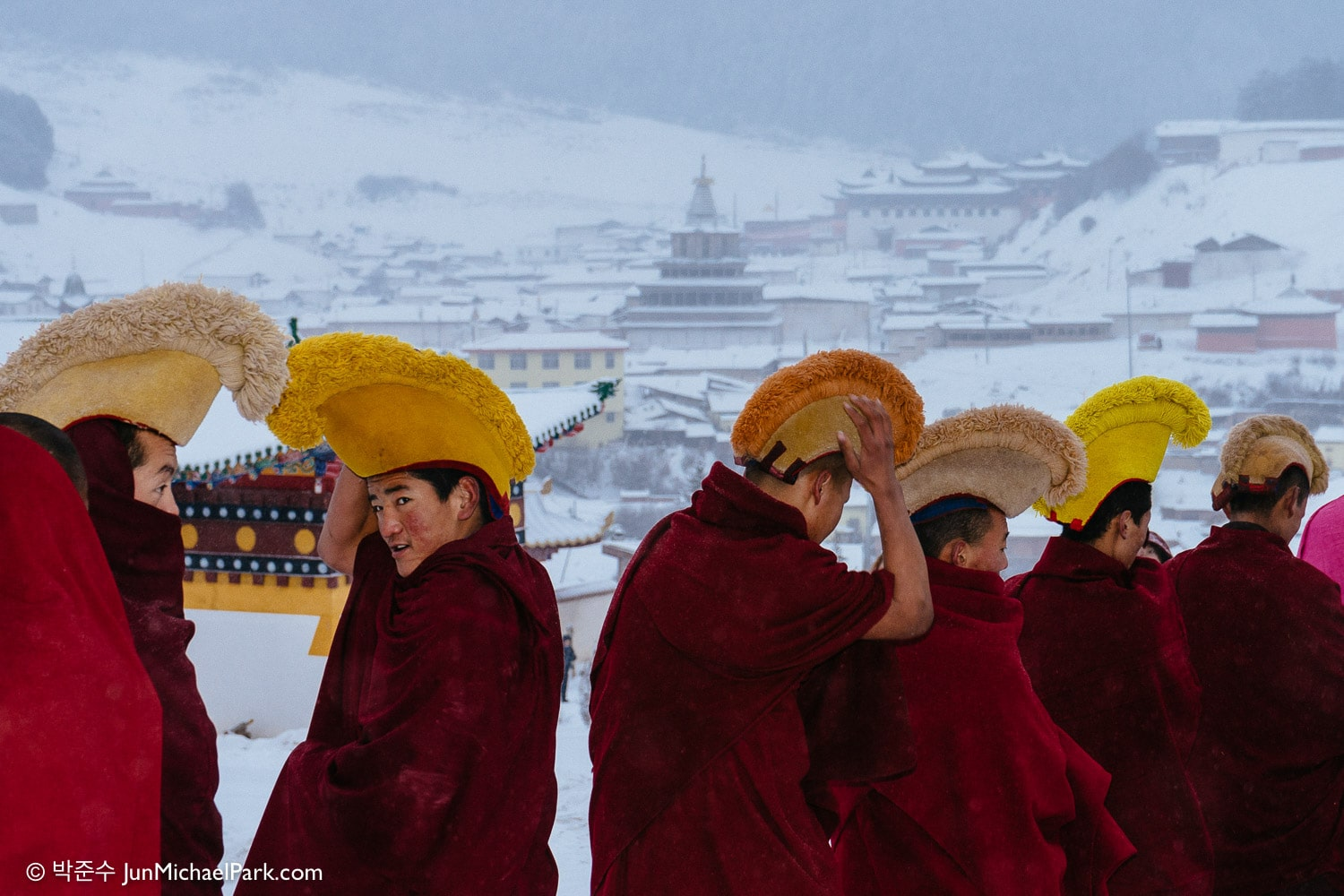 Feb, 2014 - Tibetan monks prepare for the Thangka unfolding ceremony in Langmu-si temple, Gannan, Gansu Province, China.