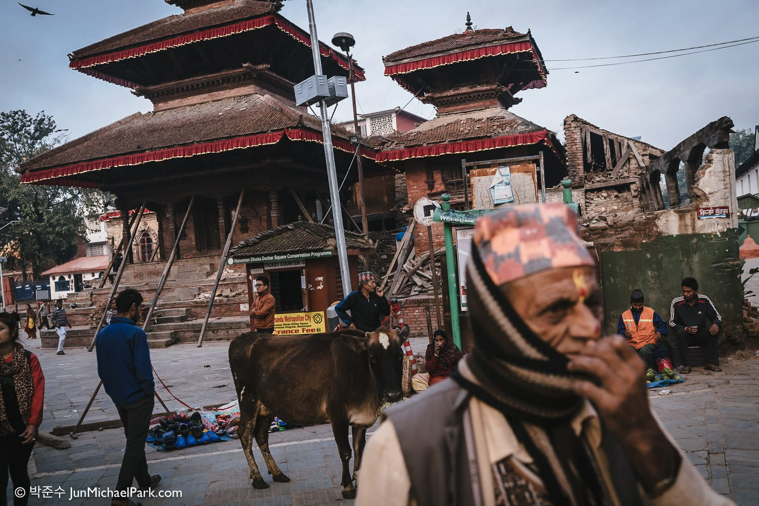 A UNESCO World Heritage site, Kathmandu Durbar Square is still in ruins 6 months after the earthquake. Life and commerce have resumed, but only precariously. 02.11.15