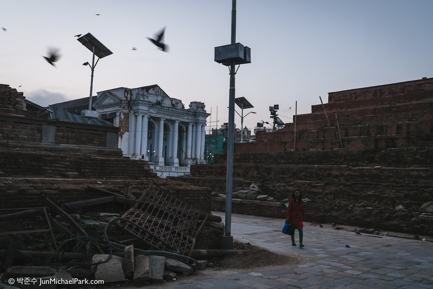 Kathmandu Durbar Square, Nepal. The temple of Maju Dega (right) and Narayan Temple (left) were completely destroyed by the earthquake, and reconstruction efforts are still in progress. 02.11.15