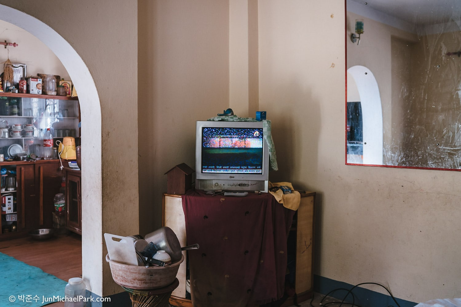 TV with static signal at a house in Kavresthali, Kathmandu District, Nepal. 03.11.15